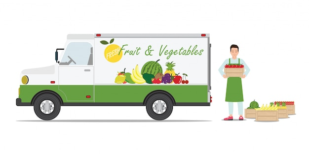 Farmers fruit and vegetables delivery car .