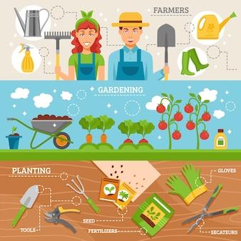 Farmers gardening flat banners set