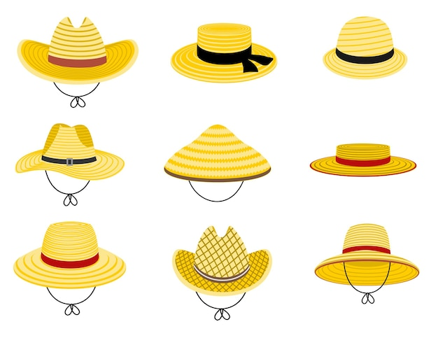 Farmers gardening hats summer traditional agriculture rural headdress asian japan hat straw american cowboy hat and and female straw cap yellow beach head accessory isolated