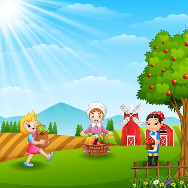 The farmers gathered in farm