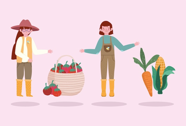 Farmers girl and boy with carrots tomatoes vegetables  illustration