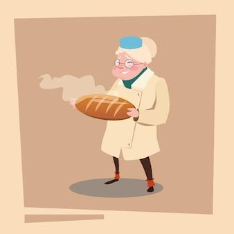 Farmers grandmother hold fresh bread