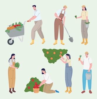 Группа фермеров, выращивающих аватары персонажей иллюстрации