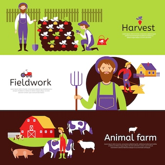 Farmers harvest horizontal banners set