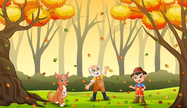 The farmers having fun with autumn leaves