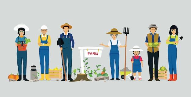 농업 도구를 들고 농부는 회색 배경을 가지고