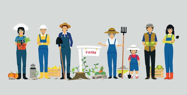 Farmers holding agricultural tools have a gray background