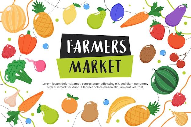 Фон фермерского рынка с фруктами и овощами и рисованной надписью