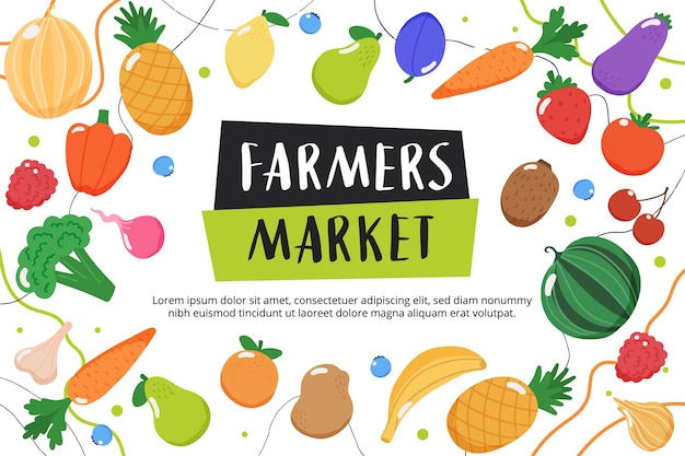 Farmers market background with fruits and vegetables and hand drawn lettering