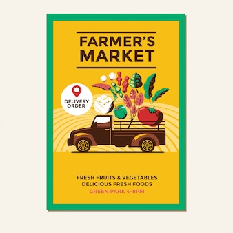 Farmers market flyer template with farmer's vintage pickup truck
