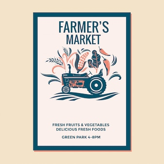 Farmers market flyer with farmer's vintage tractor