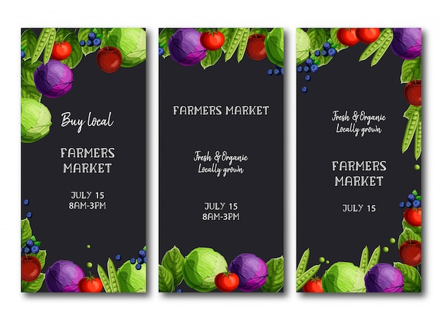 Farmers market flyers, brochure with bright fresh cabbage, peas, tomato, apples, and blueberries.