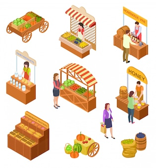 Farmers market isometric. people sell and buy traditional meal, vegetables and fruit on food marketplace with stalls   set