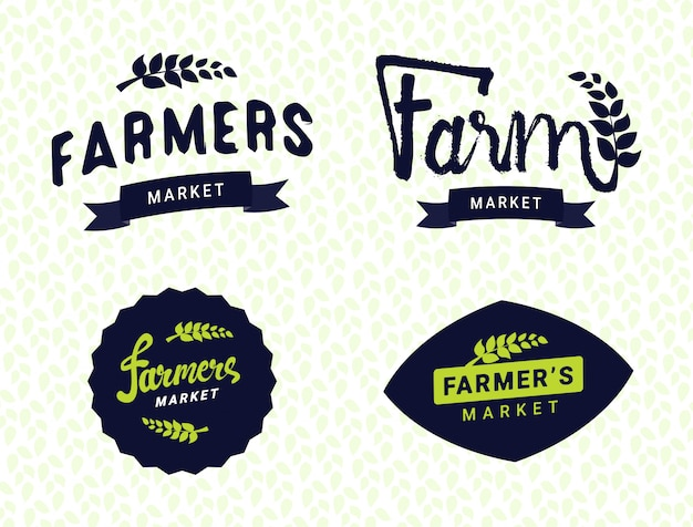 Farmers market logos templates vector objects set