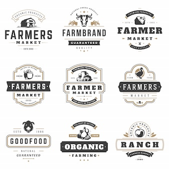 Farmers market logos templates vector objects set.