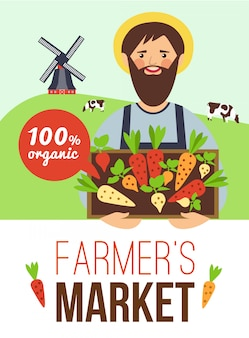 Farmers market organic products flat poster