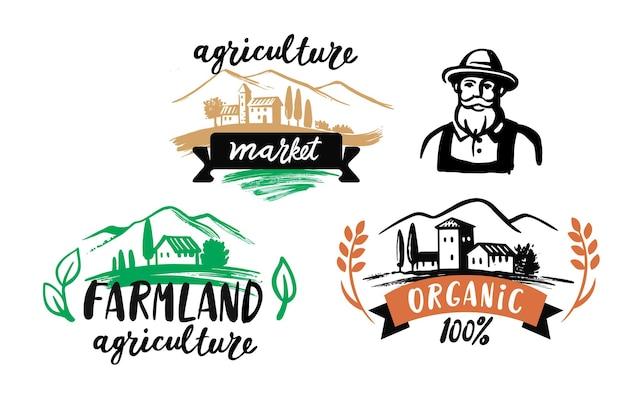 Фермерский рынок набор рисованной значков каракулей. символ натурального органического продукта.