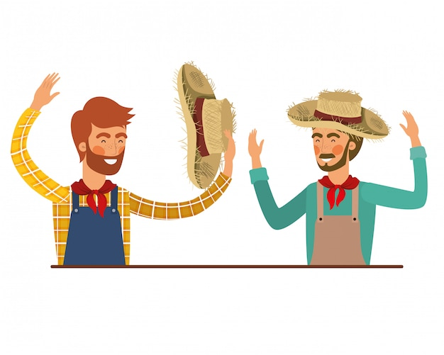 Farmers men talking with straw hat