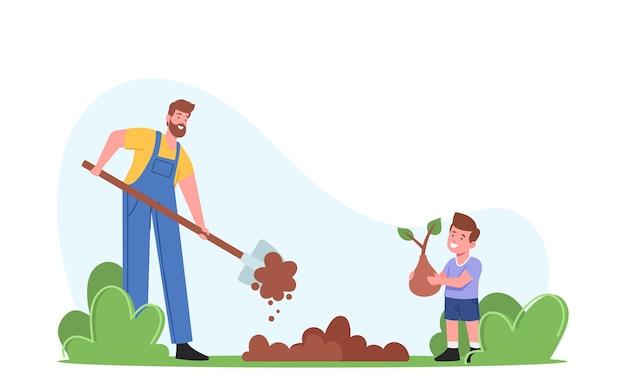 庭で働く農夫またはコテージのキャラクター。土を掘る父、地面に芽を植える息子、木の家族の世話、屋外の趣味、環境保護。漫画の人々のベクトル図