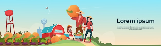 Farmers parents and daughter gather harvest farm background