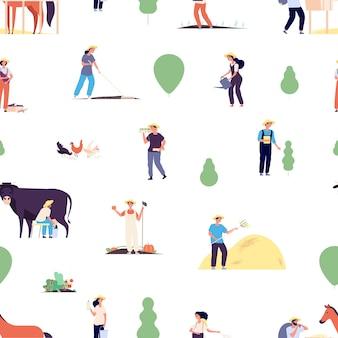 農民のパターン。庭師チーム、農業または収穫時期。馬と牛のいる村の人々は、文字を植えることはシームレスなテクスチャをベクトルします。農場は植物を育て、野菜のイラストをガーデニング