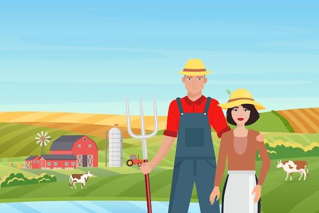 農家の人々と農場の風景のイラスト。