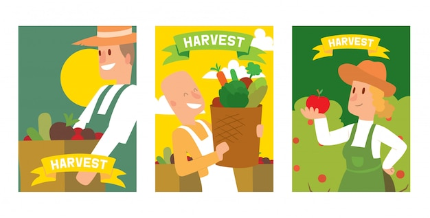 Farmers picking vegetable harvest to baskets and boxes set of cards, posters.