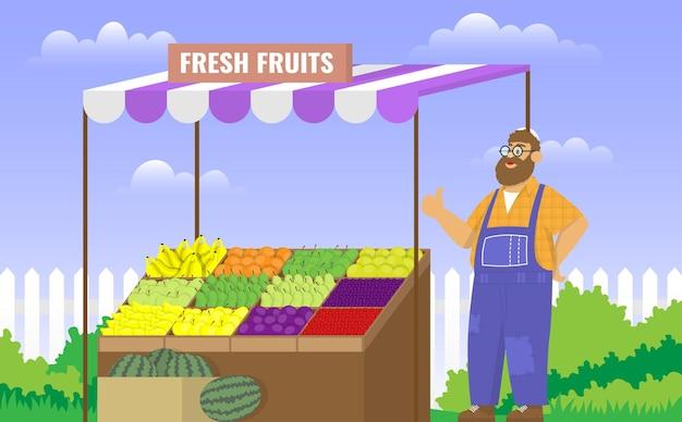 農家はエコストアで新鮮な果物を販売しています。カラーベクトル漫画イラスト。食品のコンセプト