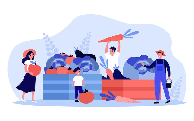 Farmers selling fresh farm vegetables and fruits. tiny people and wood boxes of fall organic harvest flat vector illustration. local food market concept for banner, website design or landing web page