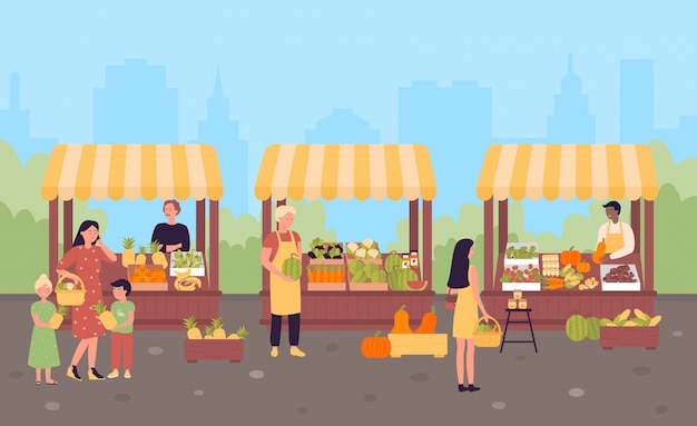 Farmers street market in city flat illustration concept, town background