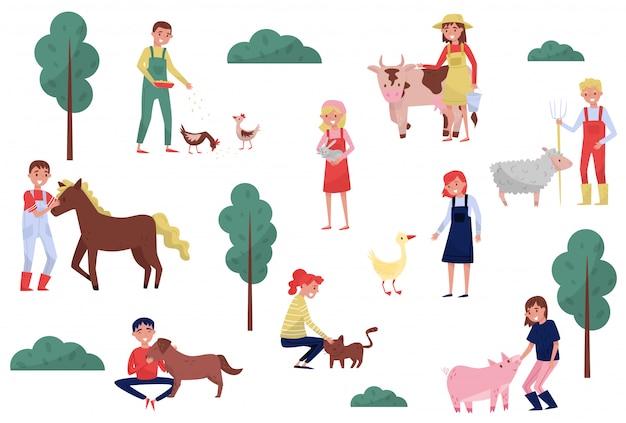 白い背景の上の農場、農業、農業の図で動物の世話をする農家
