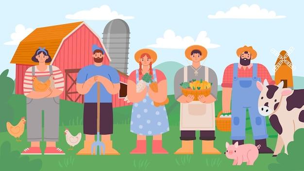 ファーマーズチーム。新鮮な製品と家畜と漫画の農業の男性と女性。農村景観と農業労働者のベクトルの概念。イラストチームファーム、女性と男性のジョブワーカー
