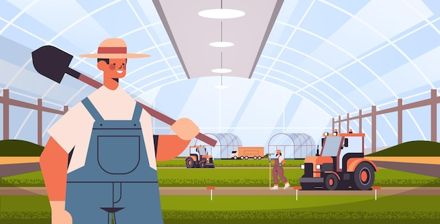 Farmers and tractors working on organic products industrial plantation growing plants smart farming agribusiness
