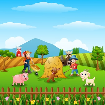 The farmers was working on the farm