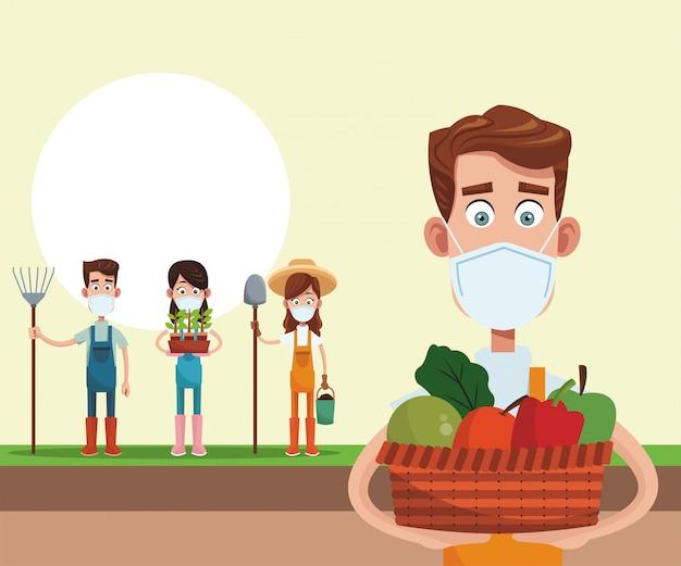医療マスクを身に着けている農家のシーン