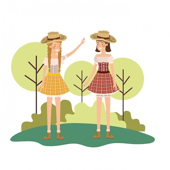 Farmers women talking with straw hat
