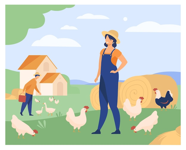 Farmers working on chicken farm isolated flat vector illustration. cartoon woman and man breeding poultry. agriculture and domestic birds