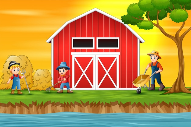 Farmers working in front of a barn