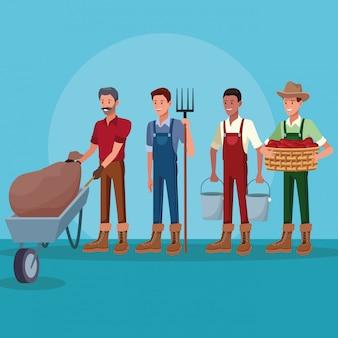 농장 만화에서 일하는 농부