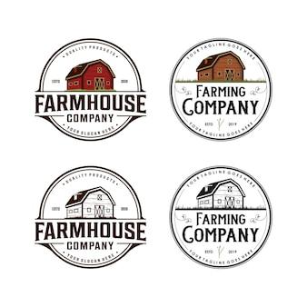 Сельский дом, сельское хозяйство старинный дизайн логотипа