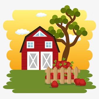 Farmhouse in the farm scene