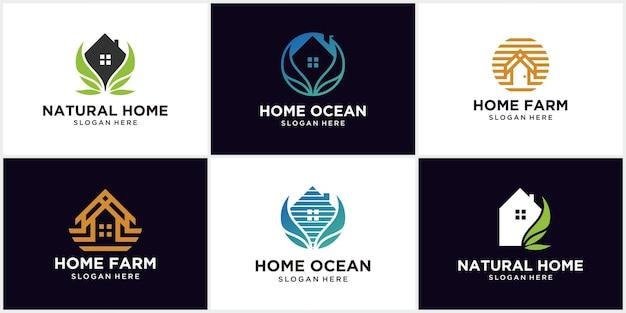농가 로고 컬렉션, 바다 집, 농장 집, 벡터 로고 템플릿 농가 로고 디자인입니다. 추상 농장 아이콘 디자인 벡터 일러스트 레이 션. 라인 아트 스타일의 현대적인 로고 디자인.