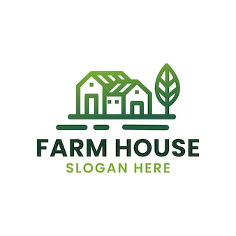 Farmhouse minimalism monoline logo design template