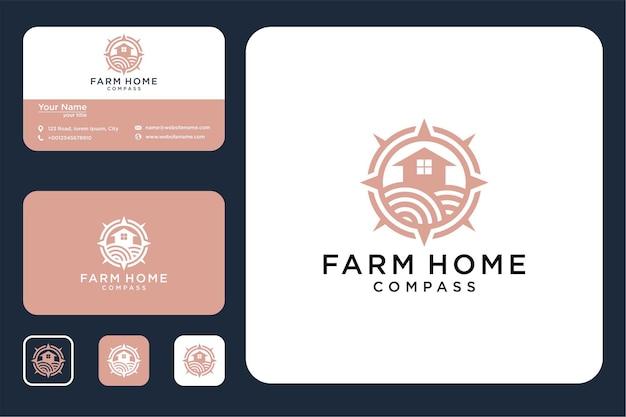 나침반 로고 디자인과 명함이 있는 농가