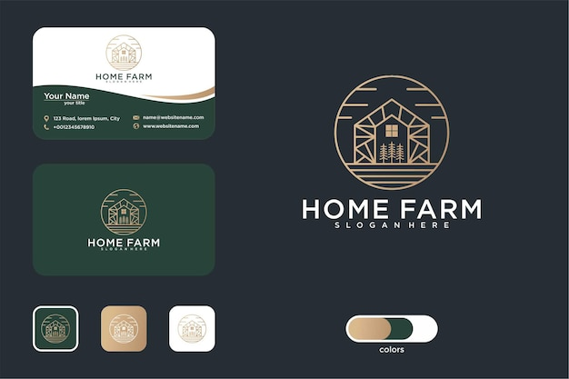 Farmhouse with line art logo design and business card