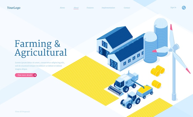 Farming and agricultural isometric landing page