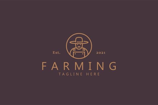 農業プレミアムバッジのロゴ。収穫、農民、食品、天然物のラインスタイルのシンボル。帽子をかぶった口ひげを持つ男のイラスト。