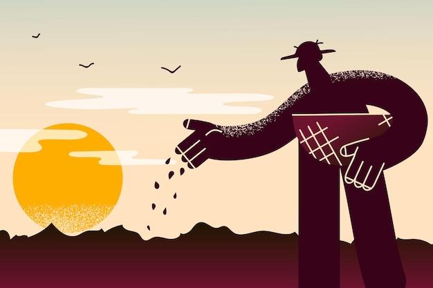 Концепция земледелия, сельского хозяйства и выращивания. силуэт человека-фермера, стоящего с закладкой семян в землю для выращивания растений, овощей, фруктов на закате или восходе солнца, векторная иллюстрация