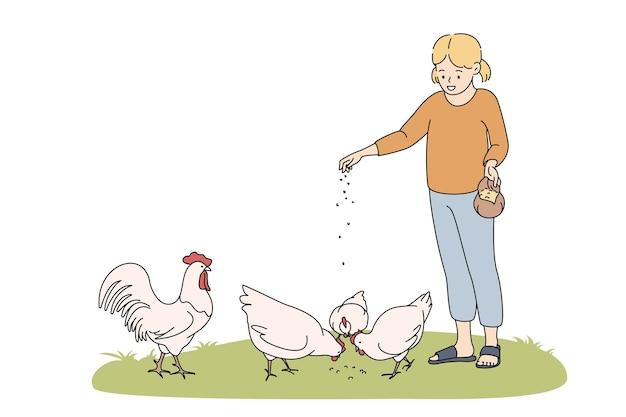 농업, 농업, 동물 개념 먹이기. 웃고 있는 소녀 만화 캐릭터가 서서 잔디 벡터 삽화에 손에서 씨앗을 든 닭 암탉에게 먹이를 줍니다.