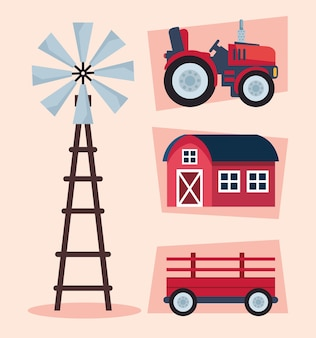 Farming agriculture four icons